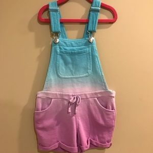 Justice Girls size 6 soft Terry Ombré Overalls GUC